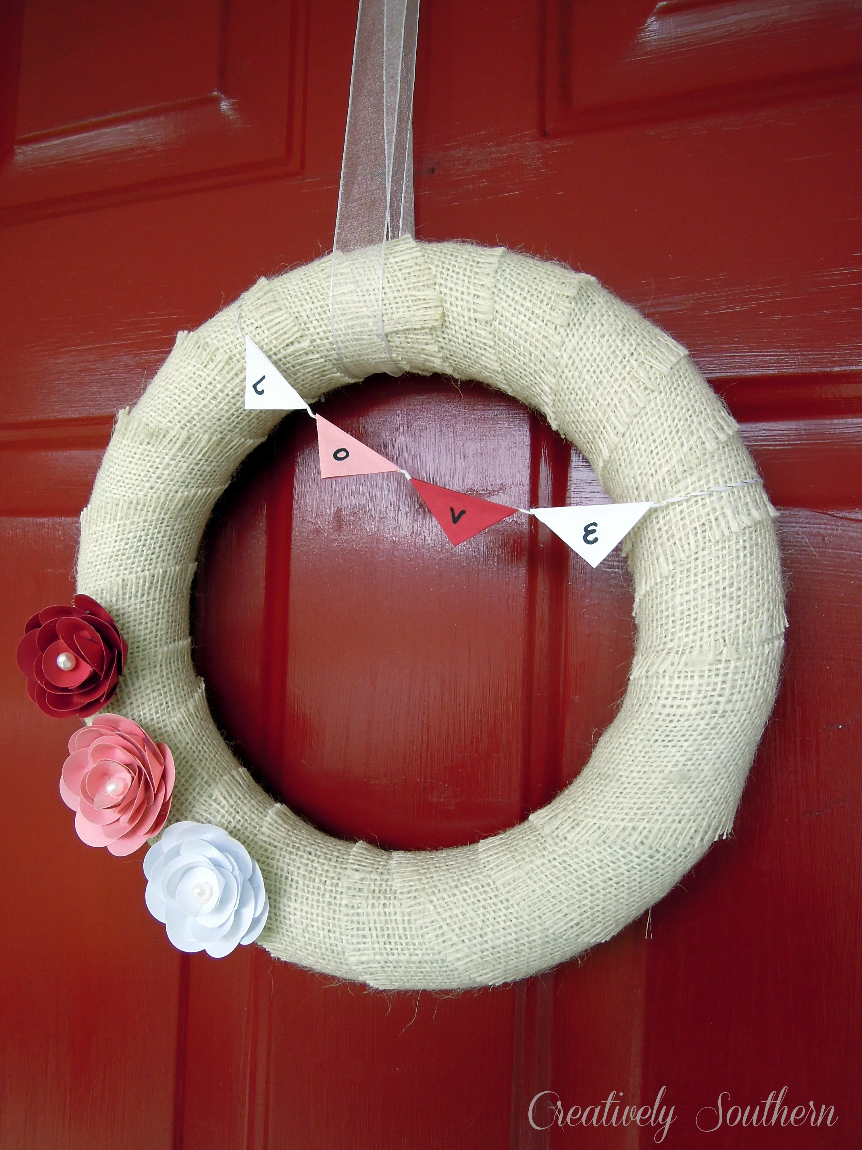 Paper Flower Valentine Wreath