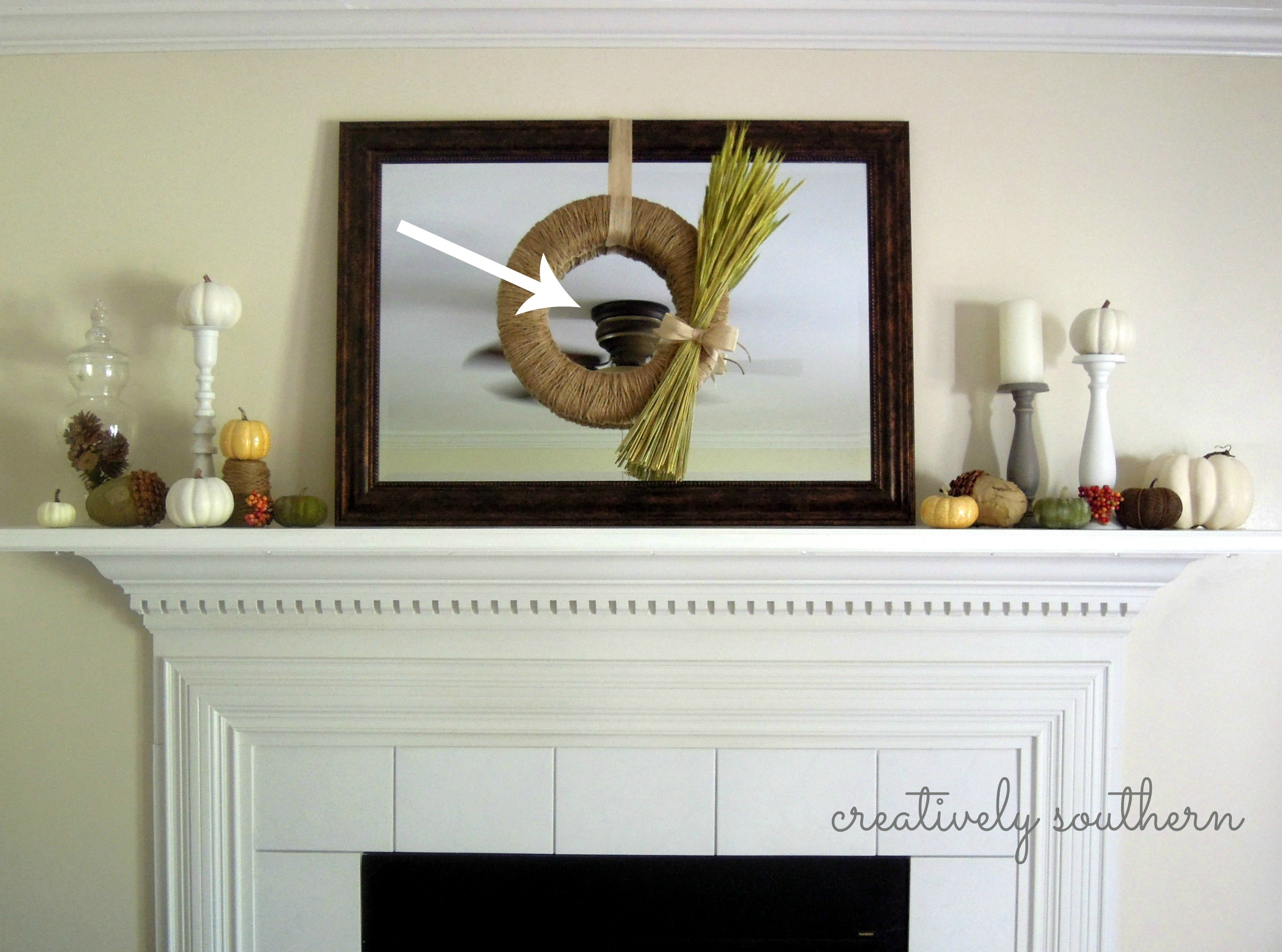 Fall harvest mantel for Over the mantel decor