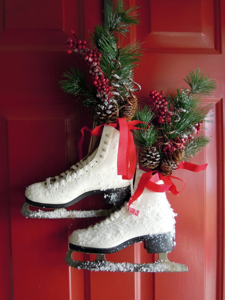 Holiday Front Door Decorating With Ice Skates Creatively