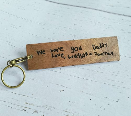 handwriting wood keychain