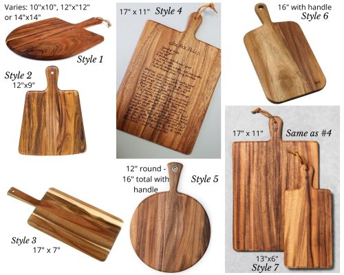 Engraved recipe boards