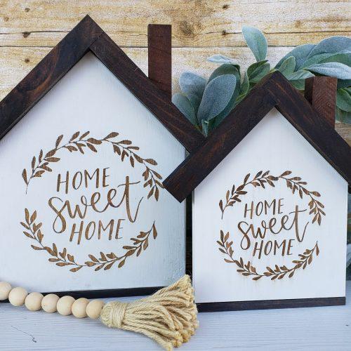 laser engraved wooden house sign