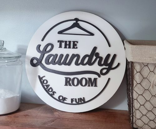 laundry room sign with hanger black and white