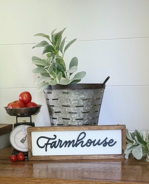 olive bucket with farmhouse sign