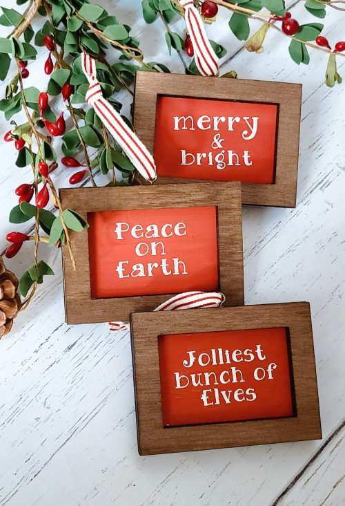 mini sign ornaments