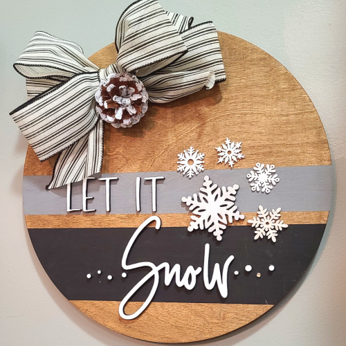 let it snow wood round door hanger