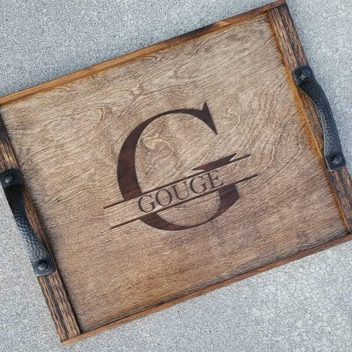 wooden monogrammed tray