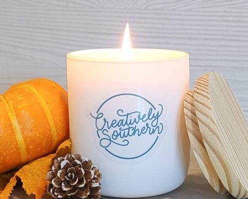 fall candle with pumpkin
